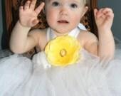 girls Tutu halter dress customize white and yellow