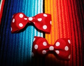 Red Bow with white polka dots