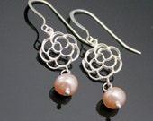 FLOWER Earrings in Sterling Silver, BLOOMING ROSE with Freshwater Pearl Earrings, Single Pearl Earrings, Bridesmaids Earrings.