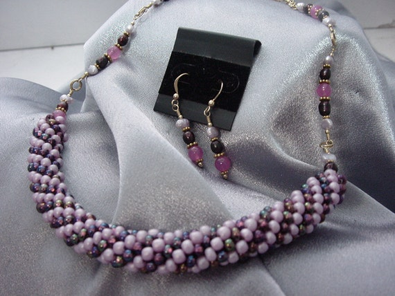 Necklace & earring set with Lavender Jade, Pearls, Vermeil, Crocheted Beads: Opulence  (#331)