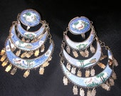 Antique Persian Silver Enamel Chandalier Screw-back Earrings with Deer and Birds