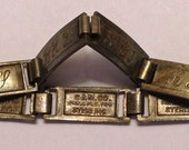 1940's WWII Sterling Silver C&M Co. Forget Me Not Initial Bracelet