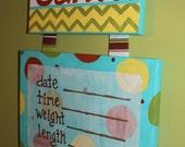 CUSTOM Hand Painted Canvas Birth Announcement/ Hospital Door Hanger/Nursery Wall Art