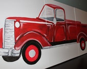 Items Similar To Vintage Red Pickup Truck Triptych Canvas