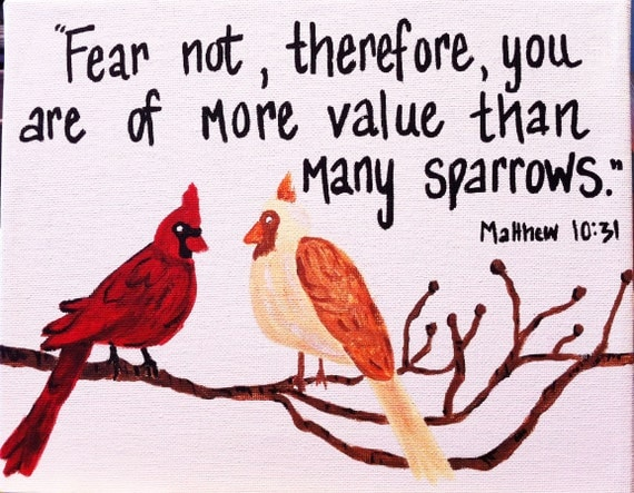 More Value Than Sparrows Scripture Verse Painting. CUSTOM Hand Painted Bible Verse on Canvas