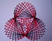 Curve stitch String Art Red and Black Three Circles Stitching