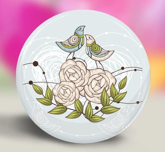Pocket Mirror or Magnet - Snuggle Birds