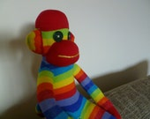 Rainbow Sock Monkey - Brand New - Handmade - Other colours can be made to order.