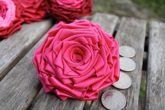 Hot Pink Satin and Grosgrain Ribbon Rose Pin/ Hair Clip