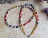 Colorful Beaded necklace using vintage purple, red, gold beads (must see) - Item 2047 (SALE - SEE BELOW)