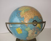 """Vintage Cram's Imperial dual rotating 12"""" World Globe 1960 with metal base and full meridian"""