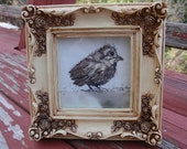 Ink and Watercolor Bird - Little Guy Original with Antiqued Frame