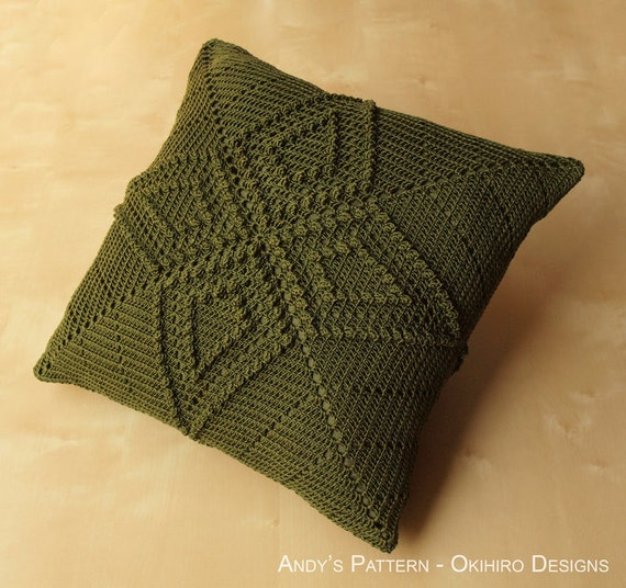 """Andy's Pattern 12"""" Crochet Square Pillow - MADE TO ORDER - Double Sided design, custom colors"""