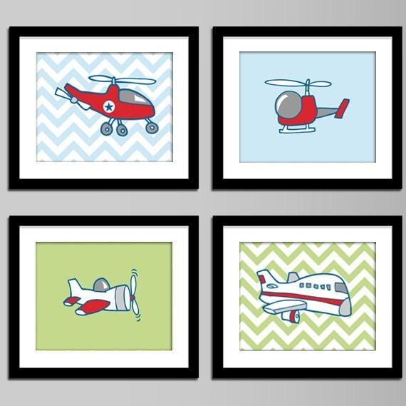 Boys room decor , airplanes and helicopter, chevron back, boys room decor, boys wall art, vehicles, cars, transportations, chevron,