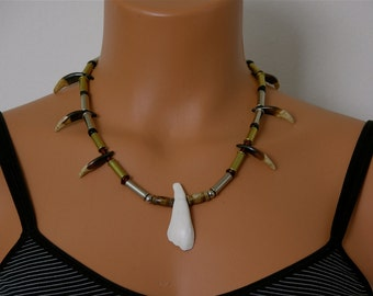 Wolf Tooth Necklace with a Water Buffalo Tooth Focal Point , Handmade , Unique , Glass Beads ,  22 cal spent shell casings , OOAK