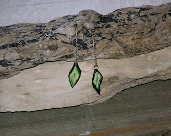 Hand Crafted , Alligator Gar , Fish Scale Earrings, One Of A Kind, Dyed Green , Dangle