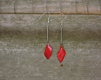 Hand Crafted , Alligator Gar  Fish Scale Earrings , One Of A Kind, Dyed Red , No Two Scales are Identical, Dangle