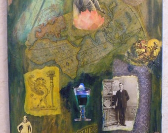 The Gentlemanly Pursuits 16 X 20 Mixed Media Collage on Canvas
