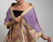 Hand dyed silk evening stole - 40% Off - Pieced shibori dyed silks, hand printed, with gold shantung silk