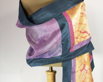 Hand dyed silk evening stole - 50% off! - Pieced hand dyed silks and vintage shantung. Opera stole. Silk shawl.