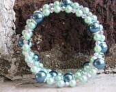 Sea Green/Blue Memory Wire Bracelet
