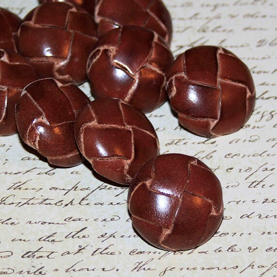 Brown Leather Vintage Buttons Circa 1940