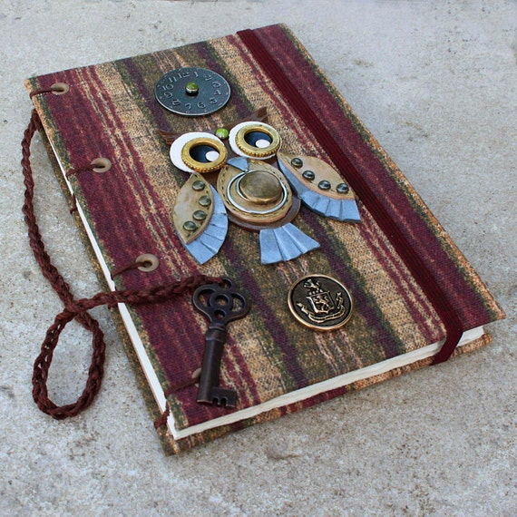 Steampunk Owl Blank Coptic Journal.
