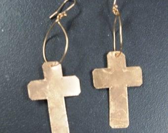 Handmade Copper Cross Earrings