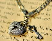 sterling silver bracelet dangle crystal heart and key