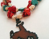Cowgirl Necklace - Double Strand Turquoise w/ Rustic Metal Bronc Rider Pendant