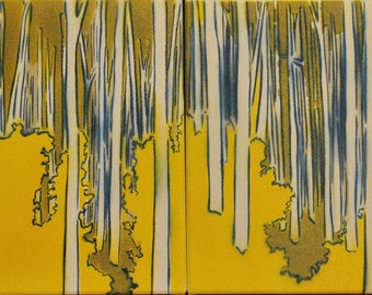 Aspen forest panoramic painting