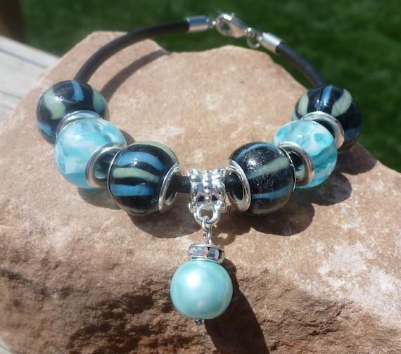 Aqua, Navy and Black Leather Charm Bracelet