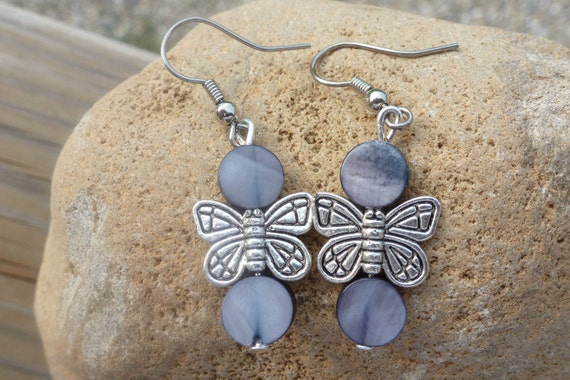 Mother of Pearl and Silver Butterfly