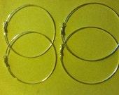 Silver Hoops (80mm 3inch) 2 pair