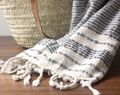Luxury Turkish Towel - Dark Gray/Blue