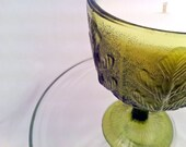 Recycled Vintage Green Glass FTD Chalice Vase W/ Oak Leaves Handmade Scented Soy Candle