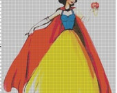 Large Size Disney Designer Princess Doll Snow White Cross Stitch Pattern PDF (Pattern Only)