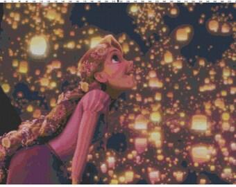 Large Size Disney Tangled Rapunzel Floating Lights Cross Stitch Pattern PDF (Pattern Only)