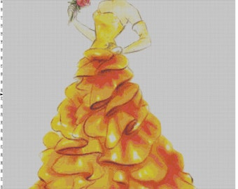 Large Size Disney Designer Princess Doll Belle (Beauty and the Beast) Cross Stitch Pattern PDF (Pattern Only)