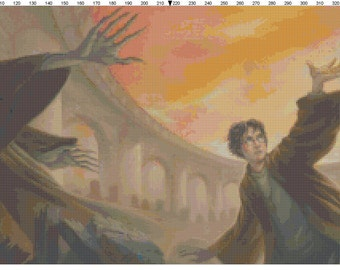 Small Size Harry Potter and the Deathly Hallows Book Cover Cross Stitch Pattern PDF (Pattern Only)
