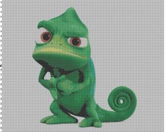 Large Size Pascal Tangled Rapunzel Chameleon Cross Stitch Pattern PDF (Pattern Only)
