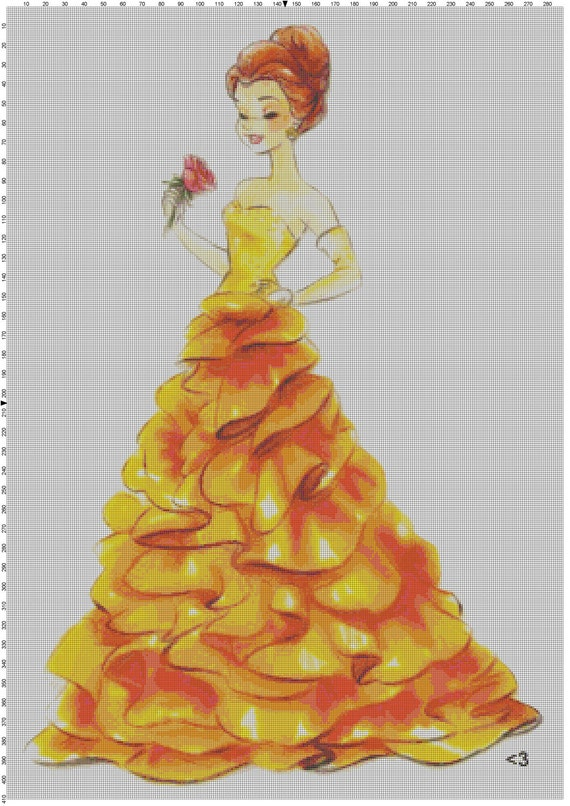 Large Size Disney Designer Princess Doll Belle (Beauty and the Beast) Cross Stitch Pattern PDF (Pattern Only)