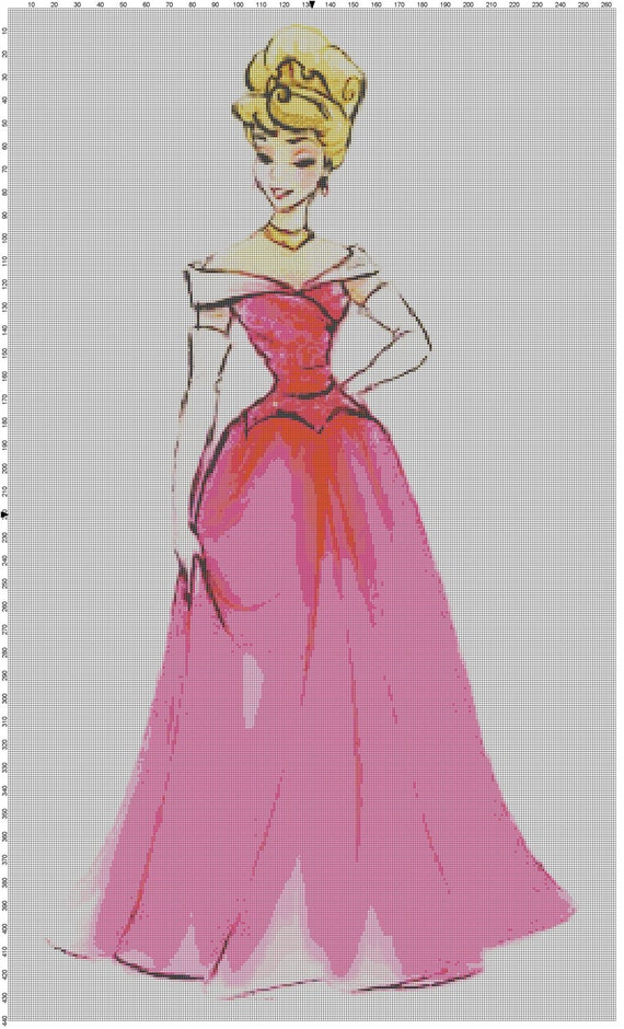 Large Size Disney Designer Princess Doll Aurora (Sleeping Beauty) Cross Stitch Pattern PDF (Pattern Only)