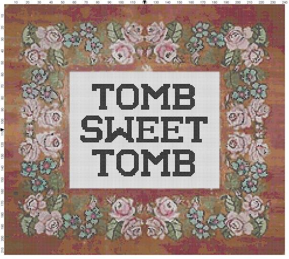 Disney Haunted Mansion Tomb Sweet Tomb Cross Stitch Sampler Pattern PDF (Pattern Only)