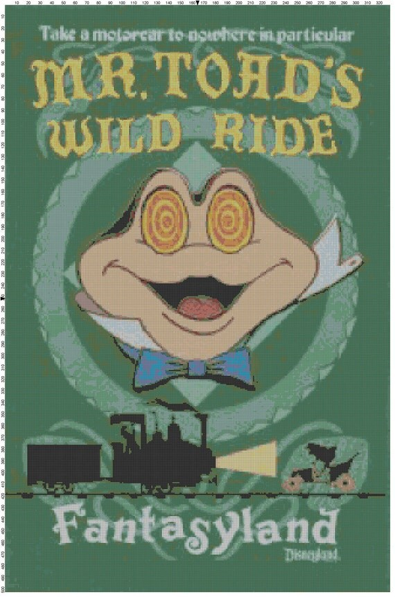 Large Size Mr. Toad's Wild Ride Cross Stitch Pattern PDF (Pattern Only)