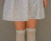 Handmade Grey Floral Pleated Skirt