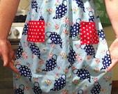 Handmade Blue Teapot Apron w/ Red Polka Dot Pockets