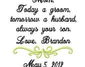 Mother of The Groom Handkerchief - today a groom - tomorrow a husband -always your son - Wedding Handkerchief