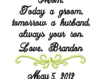 Mother of The Groom Handkerchief - today a groom - tomorrow a husband -always your son - Wedding Handkerchief