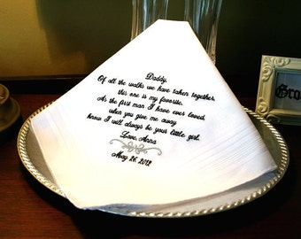 Father of The Bride Handkerchief -Hankie - Hanky - FAVORITE WALK with MOTIF - Gift for Father of the Bride - Wedding - MisterandMrs